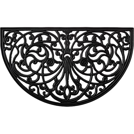 Rubber Scroll Doormat Half Moon Mat, Indoor Outdoor Entrance Mat, Low Clearance, Functional and Easy to Clean, Wrought Iron Scroll Design