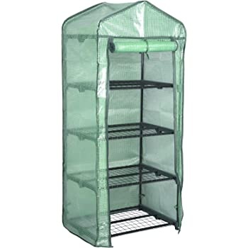approx 130 cm Transparent Relaxdays 3-Tier Greenhouse on Wheels with PE Zipper Tall 51.2 in