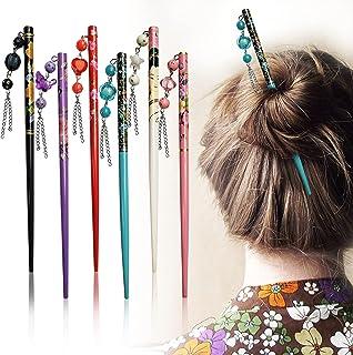 Sanas 1 Pc Juda Stick Hair Stick Wooden Plastic Design Attached Bun Stick DIY Hair Styles Juda Bun Hair Stick for Women An...