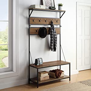 BELLEZE Modern Entryway Hall Tree Coat Rack Storage Shoe Bench with 4-in-1 Design, 11 Hooks, Wood Accent Furniture with Metal Frame - Blake (Rustic Oak)