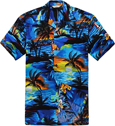 Couple Matching Hawaiian Luau Outfit Aloha Shirt and Tank Top in Sunset Patterns in 2 Colors