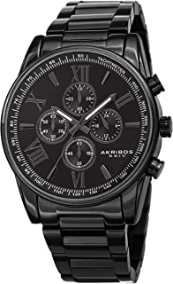 Father's Day Gift - Akribos Multifunction Stainless Steel Chronograph Watch - 4 Sub-Dials Complications Quartz - Men's Heavy Bracelet Watch - AK1072 (Black)