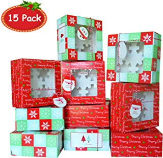 15 Pack Christmas Cookie Gift Boxes with Window, Holiday Christmas Food, Bakery Treat Boxes, Doughnut, Chocolate and Candy Boxes for Gift Giving with Gift Tags and Ribbon (A 6.3 x 6.3 x 3.1 in)