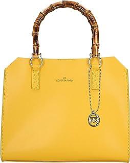 Roberta Rossi Outlet borsa a mano da donna in vera pelle Palmellato fatta a mano in Italia, 26x32x14 cm. Made in Italy RRS...