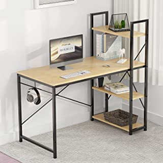 Molblly Computer Desk with Shelves Storage 55 inch Study Writing Desk for Home Office Desks,Modern Simple Style Steel Fram...