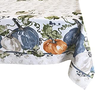 Newbridge Pumpkin Vines Stone Washed Bordered Thanksgiving and Fall Season Fabric Tablecloth, Multi-Colored Pumpkin Cottage Harvest Print Easy Care Tablecloth, 60 Inch x 144 Inch Oblong/Rectangle