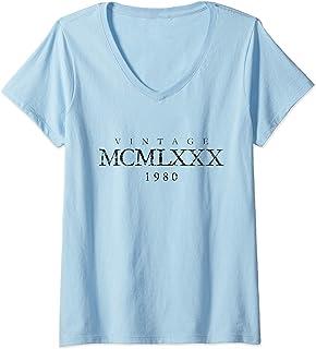 Damen Vintage MCMLXXX 1980 (Antik Schwarz) 40. Geburtstag T-Shirt mit V-Ausschnitt