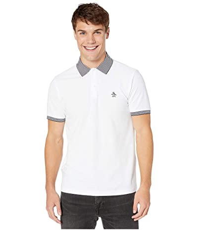 Original Penguin Short Sleeve Banded Tipped Polo (Bright White) Men