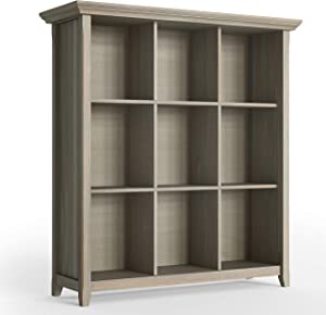 SIMPLIHOME Acadian SOLID WOOD 48 inch x 44 inch Rustic 9 Cube Bookcase & Storage Unit in Distressed Grey with 9 Shelves, for the Living Room, Study and Office