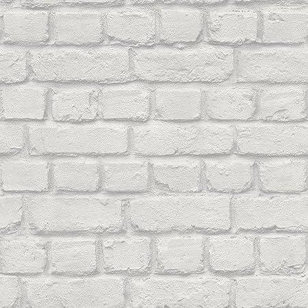 SILVER BRICK EFFECT WALLPAPER RASCH 226751 NEW