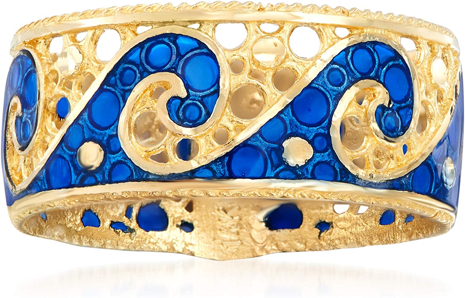 Ross-Simons Italian 14kt Yellow Gold Wave Ring With Blue Enamel