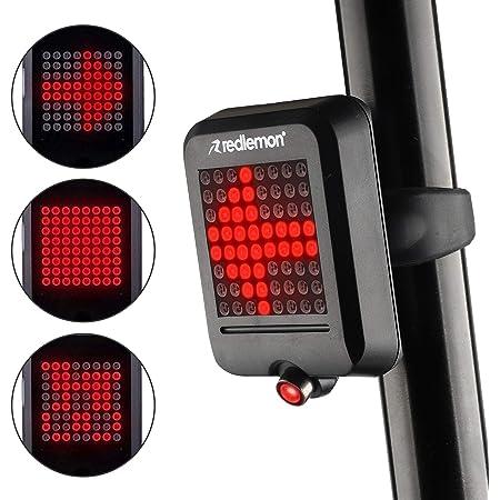 Redlemon Luz de Bicicleta Trasera Inteligente, Freno y Direccionales Automáticas, Láser de Carril, Resistente al Agua, 64 Leds con Distintos Patrones de Iluminación, Batería Recargable