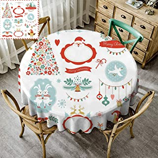 Premium Round Tablecloth, Christmas Decoration Premium Tablecloth for Wedding/Banquet/Restaurant for Wedding Party Restaurant Santa Christmas Tree Balls Gold Bell Candy Cane Rabbit White - 51