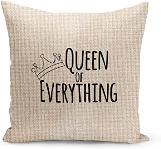 Queen of everything Beige Linen Pillow with Black Foil Print Girls Couch Pillows