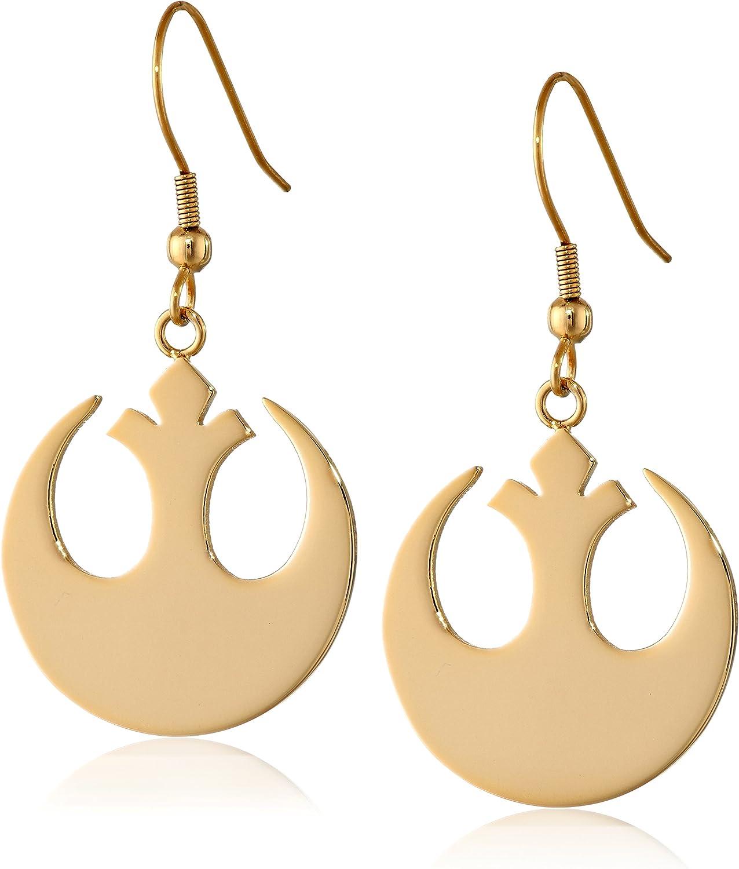 Star Wars Jewelry Rebel Alliance Gold IP Stainless Steel Dangle Hook Drop Earrings (SALES1SWMD)