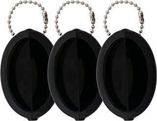 Oval Rubber Coin Purse Change Holder Made in U.S.A. For Men/Woman With Chain By Nabob