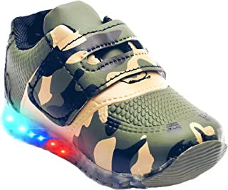 BOOMER CUBS Kids Unisex Military Pattern Synthetic Leather LED Shoes for Boys and Girls