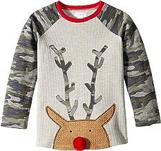 Mud Pie Mens Camo Christmas Reindeer Long Sleeve Raglan T-Shirt (Infant/Toddler)