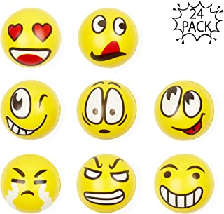 24pcs Pelota Anti Estrés | Bolas Divertidas De Emoji Squeeze | Pequeños Juguetes Fidget | Piñata Rellenos Bolsos Para Fiestas, Cumpleaños Niños Juegos | Halloween Fiesta Regalos para Niño