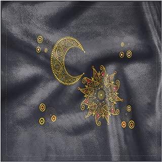 Lunarable Oriental Cloth Napkin Set of 4, Sun and Moon Paisley East, 18