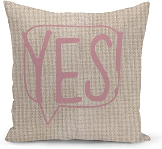 Speech bubble Yes Beige Linen Pillow with Rose Gold Glitter Foil Print Typo Couch Pillows