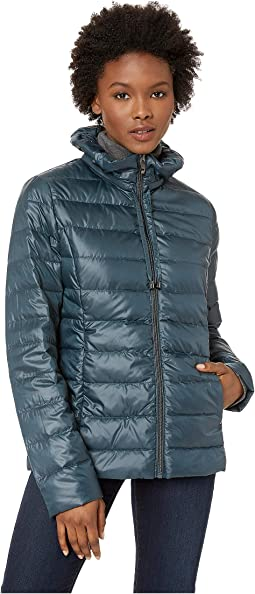 Packable Soft Puffer with Ruffle Detailed Stand Collar