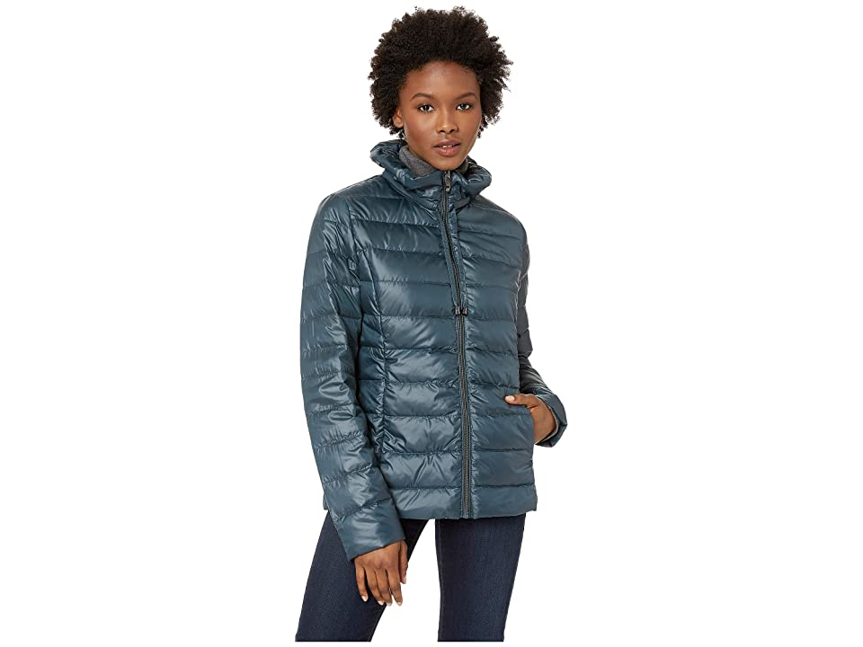 Via Spiga Packable Soft Puffer with Ruffle Detailed Stand Collar (Teal) Women