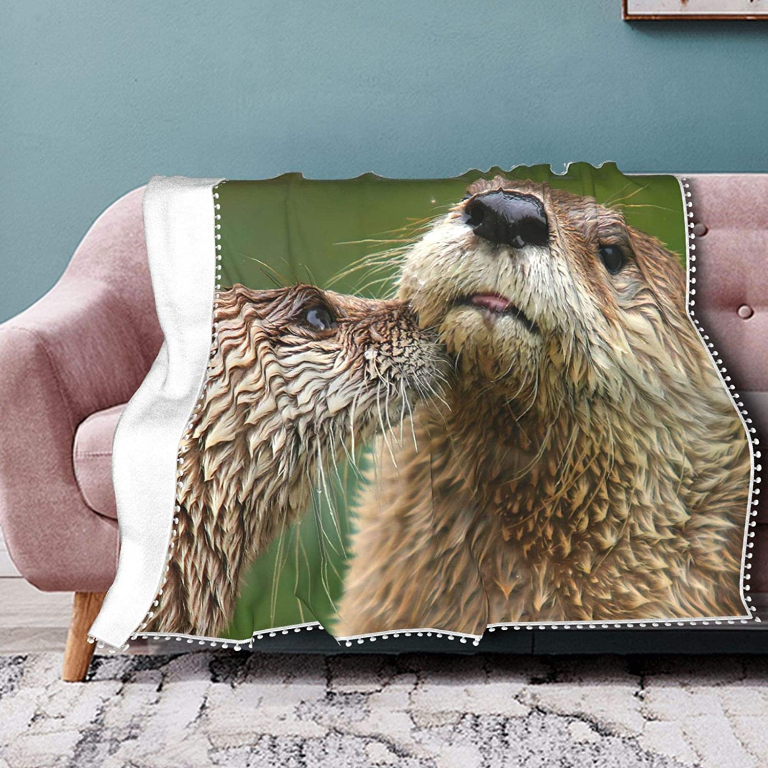Sea Otters Love Fleece Max 88% OFF Blanket with Co Summer Online limited product Fringe Air Pompom