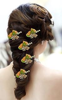 Confidence Designer Hair Flower Pins For Women And Girls, Hair Flower Accessories For Wedding, Set Of 5, 15 Gram, Pack Of 1