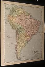 South America Brazil Columbia Peru Chile Bolivia 1892 antique detailed color map