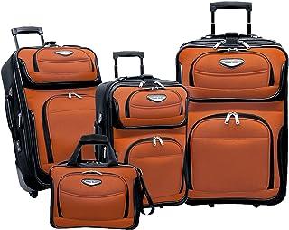 Traveler's Choice Amsterdam 4-Piece Luggage Set, Orange (orange) - TS6950O