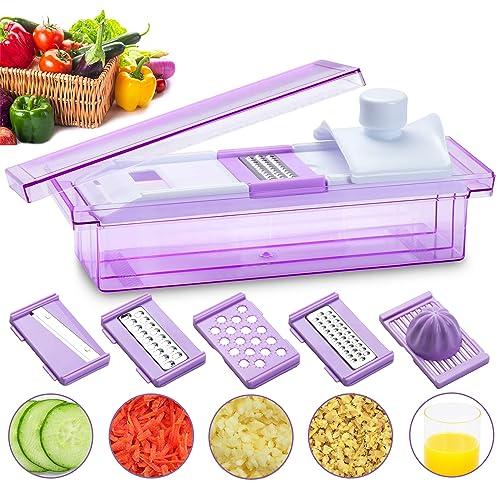 Smile Mom 5 in 1 Grater, Cutter, Slicer, Shredder, Juicer for Vegetable and Fruits, Violet
