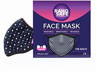 Raho Safe Dust Mask, Washable, Reusable, Breathable for Adults (Polka Dot Face Mask)