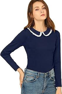 Allegra K Women's Peter Pan Collar Contrast Ruffle Sweet Work Long Sleeve Shirt Blouse