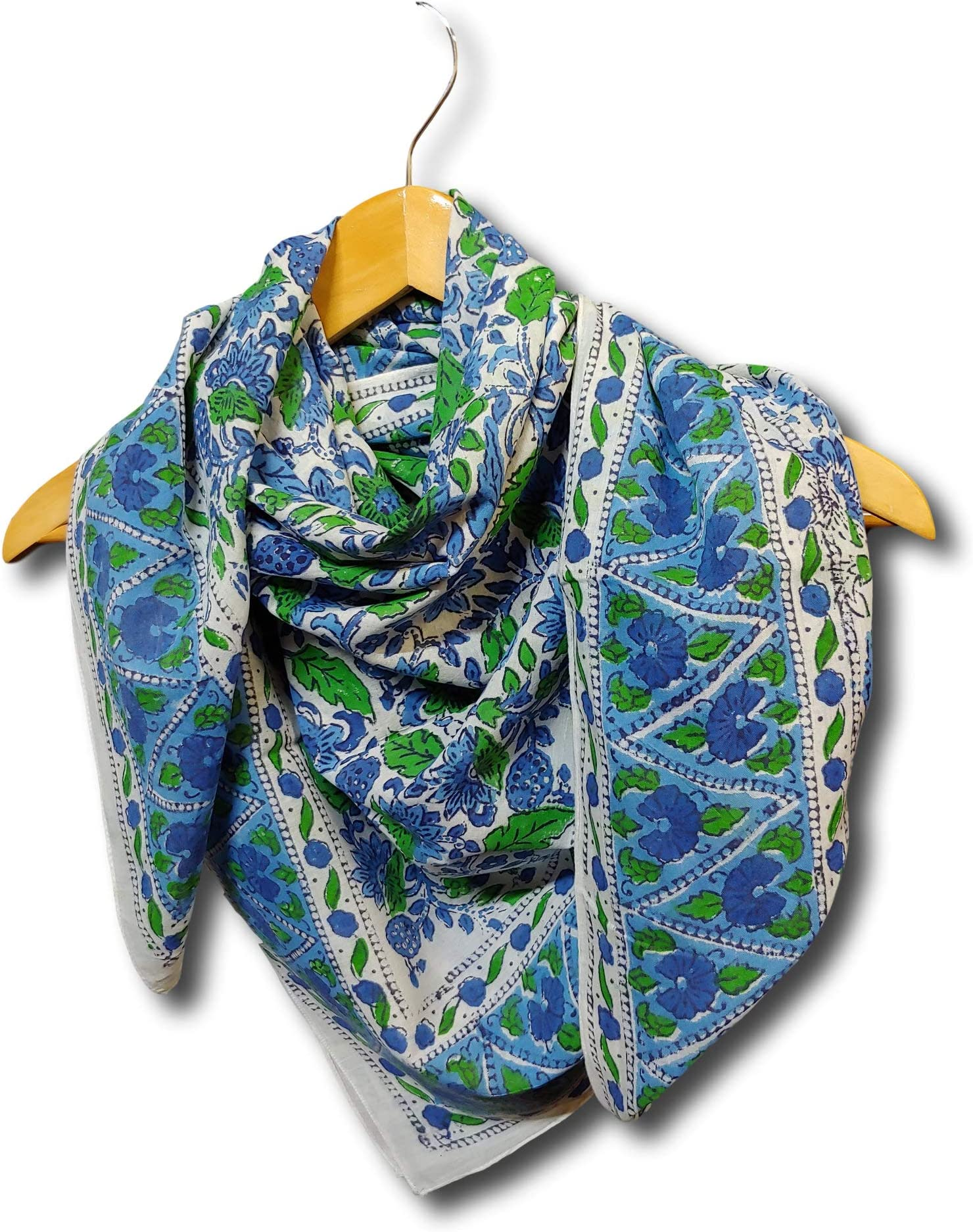 Scarf for women--Hand knitted--flowers--Soft and cozy Cotton--shawl--blue green