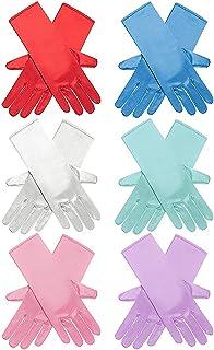 6 Pairs Princess Dress Up Long Gloves Shiny Silky Satin...