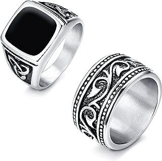 2Pcs Stainless Steel Rings for Men Vintage Biker Signet & Band Ring Set Size 7-13