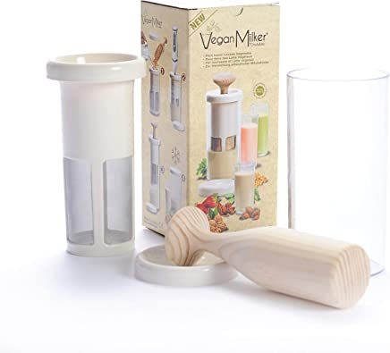 VEGAN MILKER PREMIUM by Chufamix, kitchen tool to make plant milks from any nut, grain or seed. 1 liter in 1 minute. Wooden mortar. Made in Spain. Free Recipe E-Book (download at Veganmilker web)