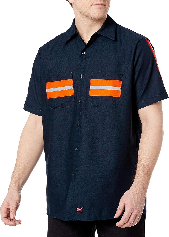 Red Kap Men's Enhanced Visibility Industrial Short Sleeve Work Shirt: Clothing
