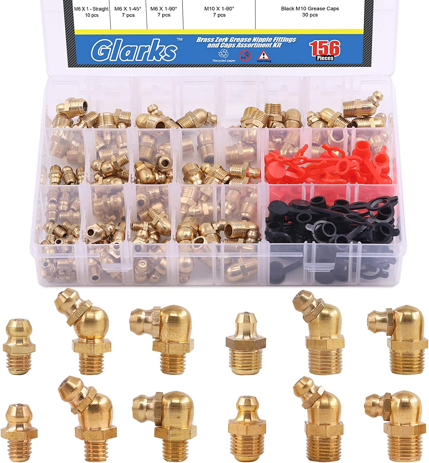Glarks 156Pcs Metric SAE Straight Limited time sale 90 Boston Mall and 45 Degree