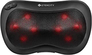 Etekcity Back Neck Massager Shiatsu Kneading Massage Pillow with 8 Heated Bi-directional Nodes Body Lower Back Shoulder, Adjustable Intensity with Heat, Gifts for Family, 2-Year Warranty, FDA Approved
