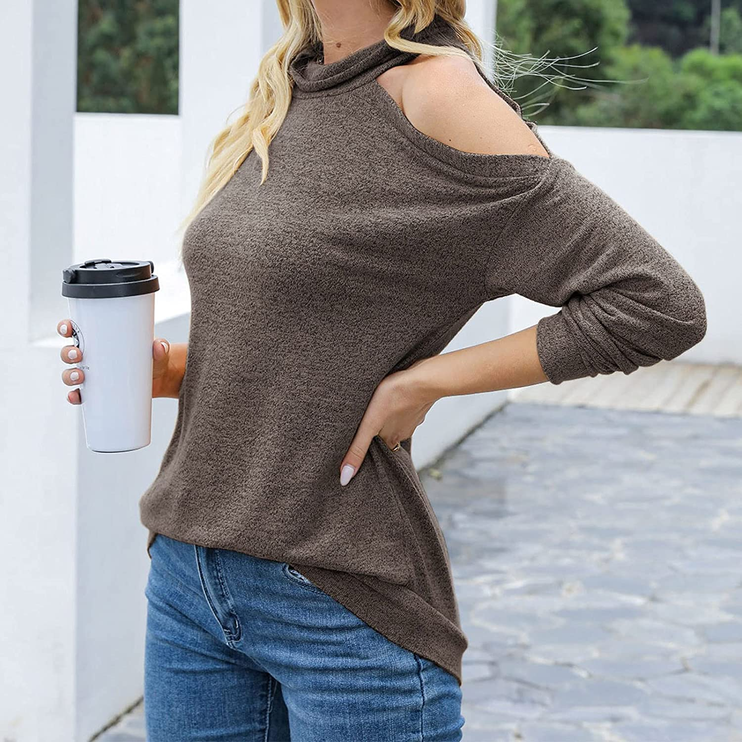 Tops for Women Off-Shoulder Sexy Long Sleeve Small High-Necked Solid Color Sweatshirts Autumn Fashion Blouses