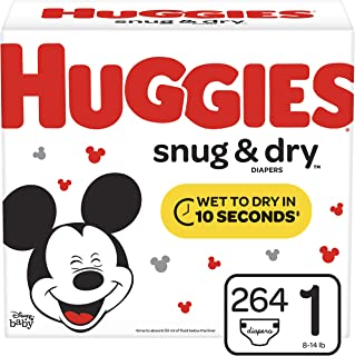 Huggies Snug & Dry Diapers, Size 1 (8-14 lb.), 264 Ct, One Month Supply (Packaging May Vary)
