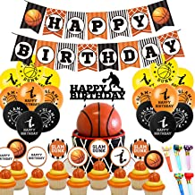 321OU Basketball Party Supplies, Sports Theme Happy Birthday Banner Latex Balloon cupcake Toppers Roll Paper Whistle for Y...