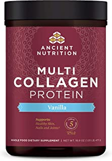 Multi Collagen Protein Powder, Vanilla, Formulated by Dr. Josh Axe, 5 Types of Food Sourced Collagen, Supports Joints, Hai...