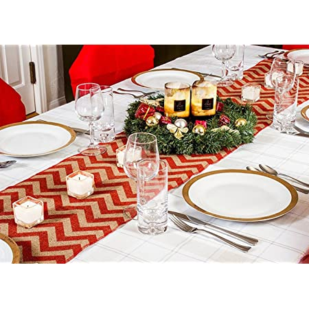 """70/"""" Country Burlap Tablecloth Chevron Design Rustic Christmas Table Runners"""