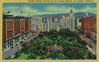 Pershing Square showing the Los Angeles Biltmore (36x54 Giclee Gallery Print, Wall Decor Travel Poster)