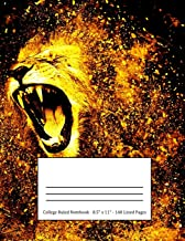 College Ruled Notebook: Large Size 8.5 x 11 in 140 Blank Lined Pages Golden Fierce Lion Roaring Design Cover