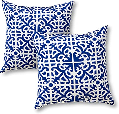 Greendale Home Fashions Outdoor Accent Pillows, Indigo, Set of 2