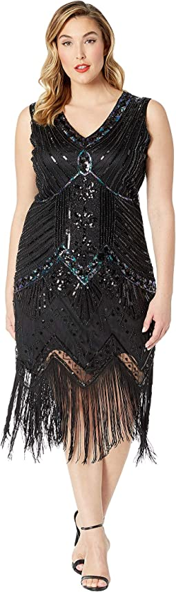 Plus Size 1920s Deco Sequin Veronique Fringe Flapper Dress